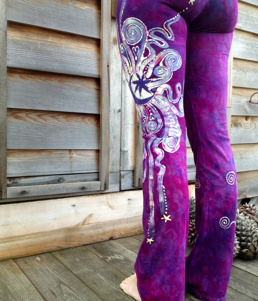 Berry Contrary Batik Yoga Pants - Batikwalla   - 2