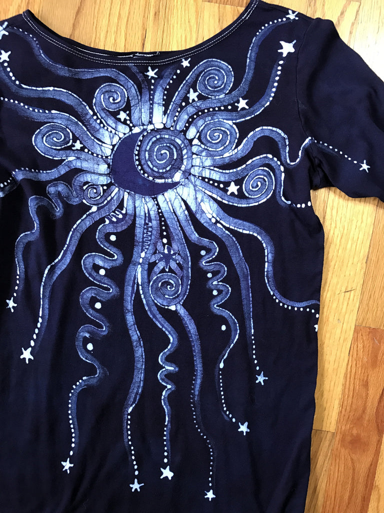 Navy Blue Center Moon & Triple Star Long Sleeve Batik Top - Size Medium