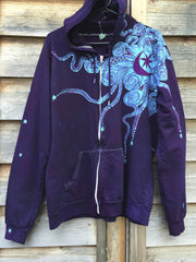 Deep Blue and Purple Moon Star Hoodie - Batikwalla   - 5