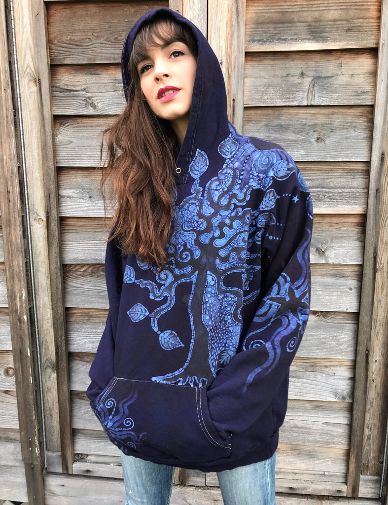 Sees The Forest For The Magnificent Trees Handmade Batik Hoodie