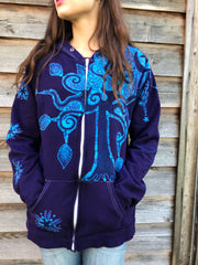 Season Of The Magenta Forest Organic Cotton Handmade Batikwalla Hoodie