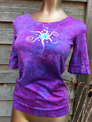Light Purple and Turquoise Star Sale Basket Top - Batikwalla   - 1