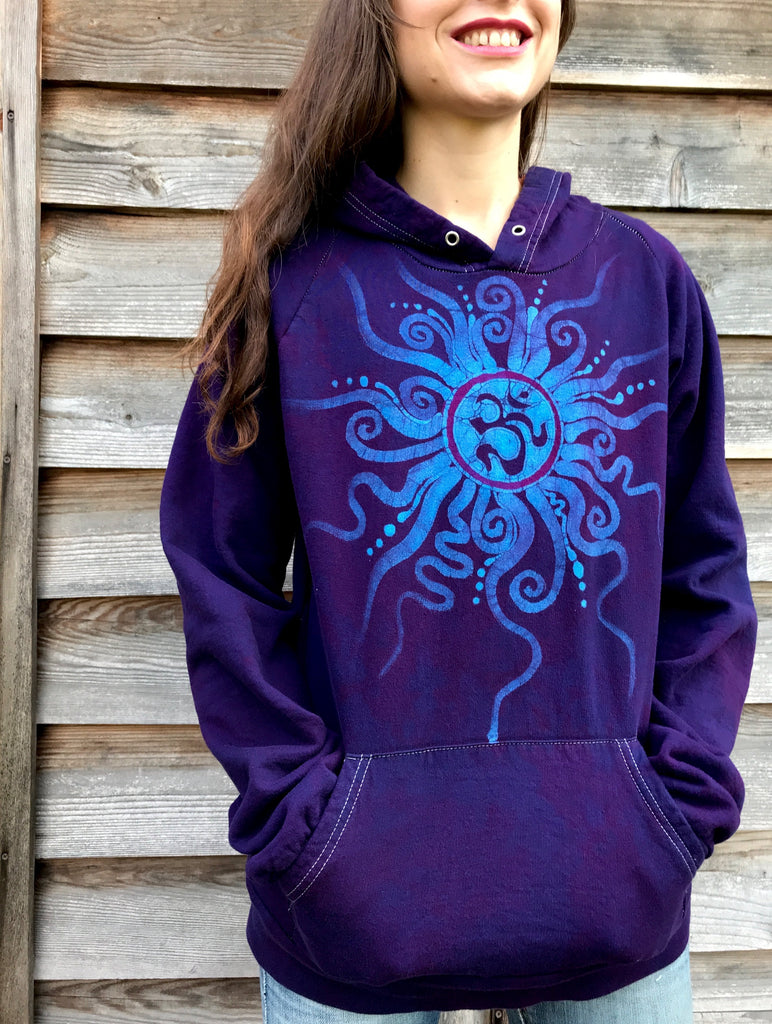 Midnight Blue Om Organic Cotton Batikwalla Hoodie