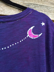 Navy Pink Moonlight Handmade Batik Summer Tee - Slight Imperfection - Batikwalla   - 3