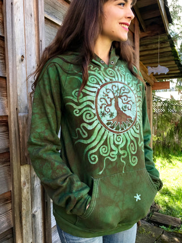The Earth Is Magic Tree Of Life Organic Cotton Batikwalla Hoodie - Size Medium