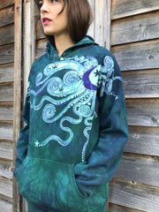 Galaxy Rider In Teal And Purple - Organic Cotton Batikwalla Hoodie - Size XL