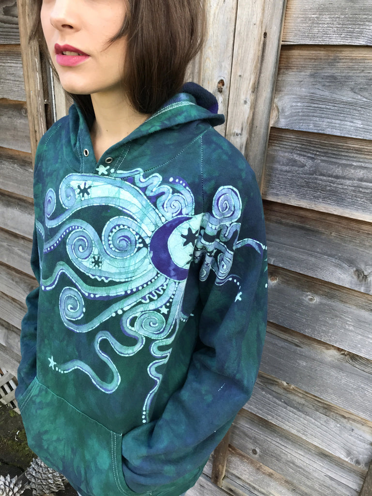 Galaxy Rider In A Teal And Purple Spacecraft - Organic Cotton Batikwalla Hoodie