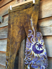 Dark Gold and Lavender Yoga Pants - Size XL - Batikwalla   - 2