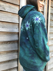 Galaxy Rider In Teal And Purple - Organic Cotton Batikwalla Hoodie - Size 2X