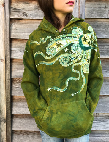 Dancing Green Moonbeam Meadow - Organic Cotton Batikwalla Hoodie - Size Medium