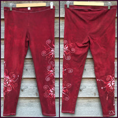 Red Earth Om and Batik Stars Leggings - Size Medium - Batikwalla   - 10