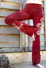 Dark Red Batik Yoga Pants - Size Large - Batikwalla   - 1