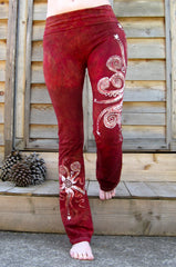 Dark Red Batik Yoga Pants - Size Large - Batikwalla   - 9