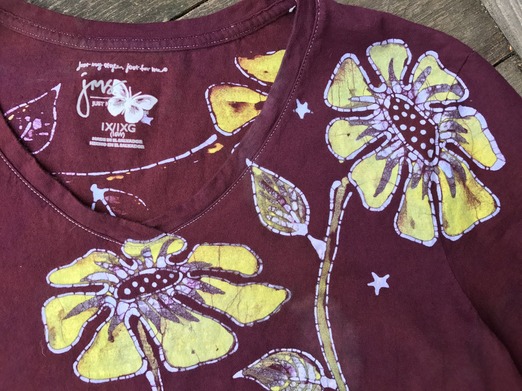 Flower Power Handmade Batik Tee - Plus Size - 1X