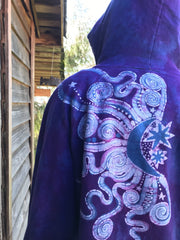 Purple Orchid Tree In The Moonlight Organic Cotton Batikwalla Hoodie - Unisex Size Large