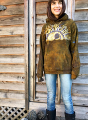 Dark Gold and Lavender Sunrise Organic Cotton Batikwalla Hoodie