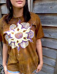 Golden Sun Star Mandala Handmade Batik Men's Tshirt - Size Medium - Batikwalla   - 1