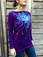 Purple and Turquoise Center Star Long Sleeve Batik Top - Size Small - Batikwalla   - 3
