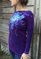 Purple and Turquoise Center Star Long Sleeve Batik Top - Size Small - Batikwalla   - 1