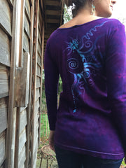 Purple and Turquoise Center Star Long Sleeve Batik Top - Size Small - Batikwalla   - 4