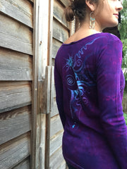 Purple and Turquoise Center Star Long Sleeve Batik Top - Size Small - Batikwalla   - 5