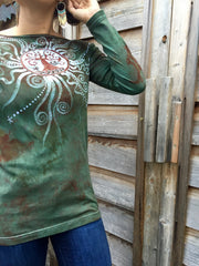 Tree Of Life In The Usnea Forest Long Sleeve Batik Top - Batikwalla   - 4