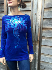 Brilliant Blue Center Star Long Sleeve Batik Top - Batikwalla   - 1