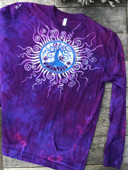 Purple Orchid Tree of Life Long Sleeve Batik Tshirt - Size 2X