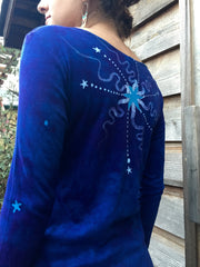 Brilliant Blue Center Star Long Sleeve Batik Top - Batikwalla   - 5
