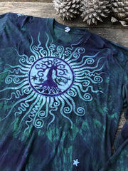 Teal and Purple Tree Mandala Long Sleeve Batik Tshirt - Size 2X