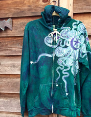 Teal and Purple Moon Organic Cotton Batik Hoodie - XL Men's (Unisex) - Batikwalla   - 4