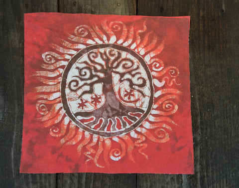 Red Tree of Life Batik Print Patch