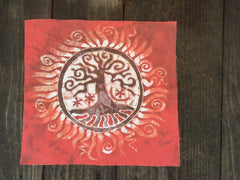 Red Tree of Life Batik Print Patch - Batikwalla   - 2
