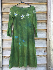 Dancing Green Moonbeams Long Sleeve Batik Dress