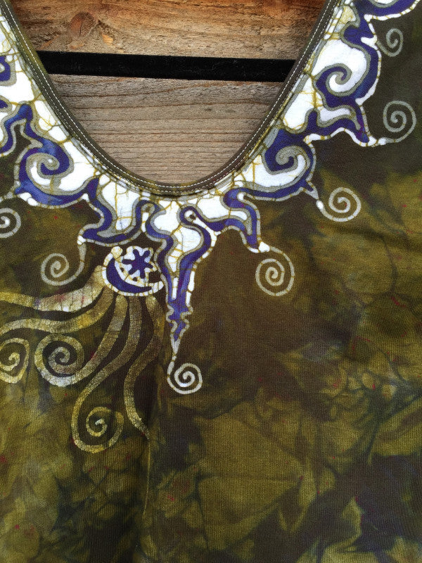 Dark Gold and Purple Batik Necklace Dance Leotard - Batikwalla   - 1