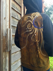 Gold and Purple Moon Star Handmade Batik Hoodie - Batikwalla   - 2