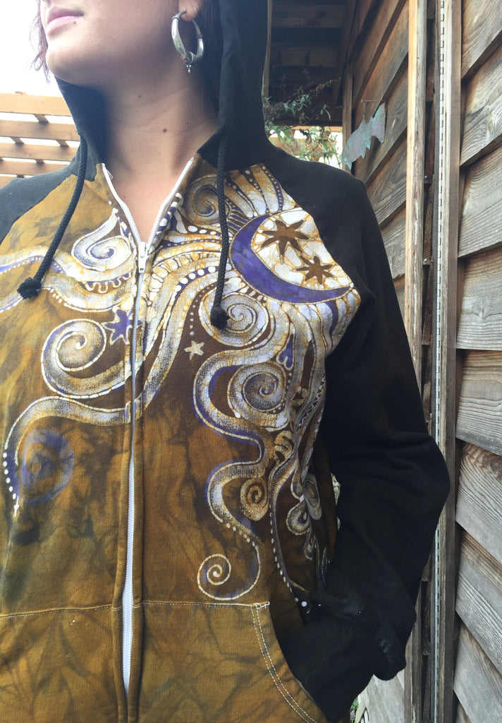 Gold and Purple Moon Star Handmade Batik Hoodie - Batikwalla   - 1