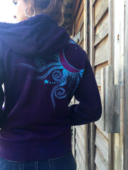Deep Blue and Purple Moon Star Handmade Batik Hoodie - Batikwalla   - 2