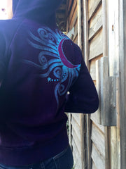 Deep Blue and Purple Moon Star Handmade Batik Hoodie - Batikwalla   - 3