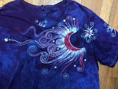 Blue Skies Moonbeams Handmade Batik Scoop Neck Tshirt - Size 2X