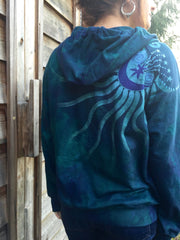 Teal and Purple Tree of Life Handmade Batik Hoodie - Batikwalla   - 4