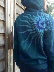 Teal and Purple Tree of Life Handmade Batik Hoodie - Batikwalla   - 3