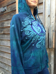 Teal and Purple Tree of Life Handmade Batik Hoodie - Batikwalla   - 2