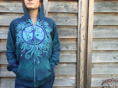Teal and Purple Tree of Life Handmade Batik Hoodie - Batikwalla   - 5