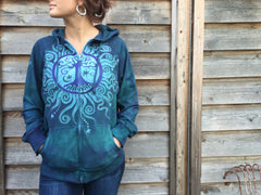 Teal and Purple Tree of Life Handmade Batik Hoodie - Batikwalla   - 1