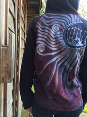 Burgundy Blue Tree of Life Handmade Batik Hoodie - Women's Size Large - Batikwalla   - 4