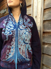 Burgundy Blue Tree of Life Handmade Batik Hoodie - Women's Size Large - Batikwalla   - 1