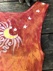 Sweet Orange Sunrise Handmade Batik Tank Top in Organic Cotton