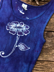 Blue Cosmos Flower Power Batik Tank Top - Size Small ONLY