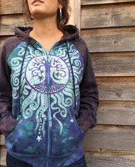 Teal and Purple Tree Mandala Handmade Batik Hoodie - Women's Size XL - Batikwalla   - 1